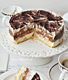 Cake Banana Cake Sky Without Baking- Ciasto Torcik Bananowe Niebo Bez Pieczenia about - Cake Recipes, Dessert Recipes, Salty Cake, Sweets Cake, Polish Recipes, Cake Flavors, No Bake Desserts, Clean Eating Snacks, No Bake Cake