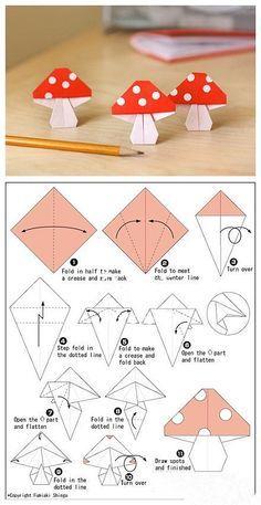 Cómo hacer unos hongos de origami