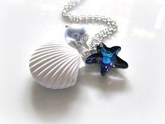 Vintage White Sea Shell Locket With Bermuda Blue Swarovski Starfish Crystal And Swarovski Light Blue Pearl Necklace, Nautical Necklace