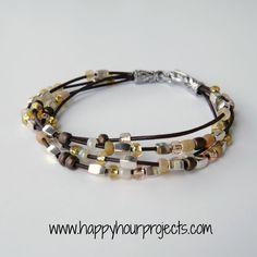 Bead & Leather Bracelet ❥Teresa Restegui http://www.pinterest.com/teretegui/❥