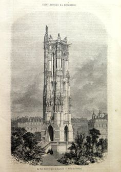 1858 Antique Saint-Jacques Gothic Tower  Paris by LyraNebulaPrints