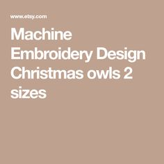 Machine Embroidery Design Christmas owls  2 sizes