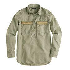 12/21 J. Crew Beaded chevron popover in vintage surplus ($23.99) 76% Off #dresses