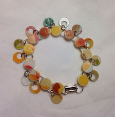 Tan and Cream Starbucks Gift Card Bracelet - Recycled Gift card Double Dangle 8 inch Bracelet for a Birthday on Etsy, $15.00