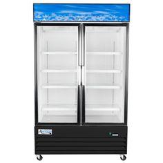 """Avantco GDC40 48"""" Swing Glass Door Black Merchandiser Refrigerator"""