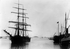 (1885)^*- View of San Pedro Harbor in 1885. Deadman's Island can be seen in the background.