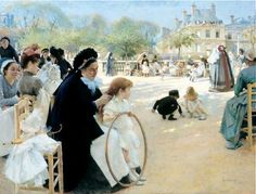 The Luxembourg Gardens, Paris - 1887 By Albert Edelfelt -Albert Gustaf Aristides Edelfelt July 1854 – 18 August was a Finnish painter. Google Art Project, Frank Stella, Albert Eckhout, Moritz Von Schwind, Art Parisien, Frank Dicksee, Paris 1900, Pintura Exterior, Hans Holbein