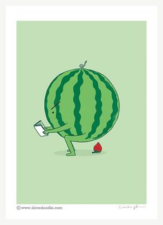 The making of strawberry - art print – ilovedoodle - The visual art of Lim Heng Swee Cute Puns, Funny Cute, Hilarious, Strawberry Art, Strawberry Fields, Wallpaper Fofos, Love Doodles, Funny Doodles, Funny Illustration