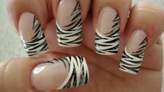 Nail tiger art look very wild and eye catching. You can paint this nail art similar to the zebra nails. Tiger Nail Art, Tiger Nails, Zebra Nails, Tiger Stripe Nails, Nail Art Designs, French Nail Designs, White Nail Designs, Hot Nails, Hair And Nails