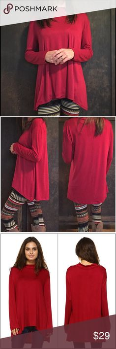 """Burgundy Red Hi-Low Tunic Beautiful burgundy red tunic.   Hi-low style Made in the USA 95% Cotton 5% Spandex Slight oversized fit with good stretch.  Also available in Navy and Charcoal. (See separate listings)  Measurements:  S-   Bust: 40""""  Length: 24/26.5"""" M-  Bust: 42""""  Length: 26/28.5"""" L-   Bust: 44""""  Length: 26/28.5""""  ❗️Price is firm unless bundled❗️ Tops Tunics"""