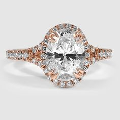 14K Rose Gold Harmony Ring // Set with a 1.50 Carat, Oval, Super Ideal Cut, F Color, VS2 Clarity Diamond (Modified with Custom Setting and Additional Diamond Accents) #BrilliantEarth
