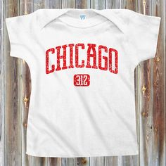 Baby Chicago 312 - Baby T-Shirt - Newborn 6M 12M 18M - Baby Tee - Infant - 4 Colors