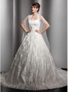 Robes de Mariée Ligne-A/Princesse Encolure  carrée Traîne Chapelle Satin  Tulle Robes de Mariée avec Ondulé  Dentelle  Perlé (002000180)