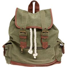 Epic Adventure Canvas Backpack (€16) ❤ liked on Polyvore featuring bags, backpacks, accessories, olive, military rucksack, brown backpack, canvas bag, buckle backpack and strap backpack