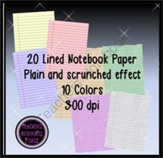 20 sheets of lined notebook paper in 10 different colors. 10 sheets are plain flat and 10 are a unique scrunched paper effect! Classroom Organization, Organization Hacks, Classroom Ideas, Teacher Resources, Teacher Pay Teachers, Classroom Clipart, Life Decisions, Notebook Paper, Lined Notebook