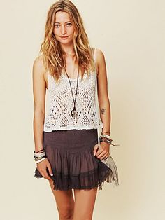 I love lacey, pleated trims, like the one on this FP ONE Balleto Mini Skirt.