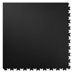 Perfection Floor Tile Leather PVC Interlocking Tile - 6 pk. Black Rhino - LL550BR50