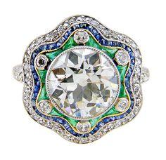 Antique Diamond, Emerald & Sapphire Handmade Ring