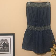 Roommates soft denim romper Adorable denim romper.  Functional pockets in front and back.  Length is 27 inches.  Comes about mid thigh.  Fits 4/6.  Stretch at waist and bust.  Super cute on. Roommates Shorts Jean Shorts
