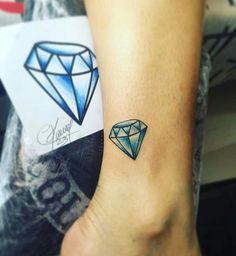 Traditional Diamond Tattoo, Traditional Tattoo, Diamond Tattoo Men, Future Tattoos, Tattoos For Guys, Color Tattoo, I Tattoo, Diamond Life, Tattoo Stencils