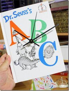 seuss book, book abc, book clock, diy clock
