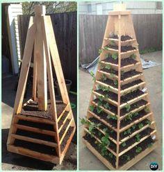 DIY Vertical Strawberry Garden Pyramid Tower Instruction-Gardening Tips to Grow Vertical Strawberries Gardens