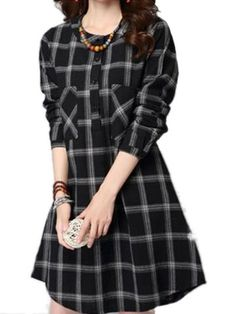 Pocket Vintage Long Sleeve Plaid Linen Crew Neck Dress Shopping Online - NewChic