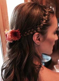 Front side Braid with Curls. Bridesmaids hairstyle, prom hairstyle. by Dunia Gamila @Zaza Makeup & Hair