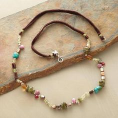 GEMS GALORE NECKLACE green garnets, ruby, citrine, pink tourmaline, turquoise, red shell, lemon quartz, brown suede