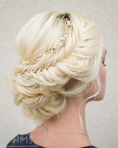 Fishtail updo with chain