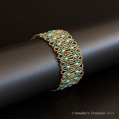 Beaded Bracelet in Bronze, Turquoise and Green Patina. Antique Style Lacy Beadwoven Bracelet with Rectangle Brass Ornate Toggle Clasp S252