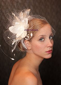 Items similar to Fabulous BIRD CAGE VEIL , wedding headpiece. Amazing birdcage veil with romantic wedding flower. on Etsy Feather Headpiece, Bridal Headdress, Bridal Hat, Bridal Headpieces, Fascinators, Bridal Fascinator, Wedding Headband, Wedding Hats, Wedding Veils