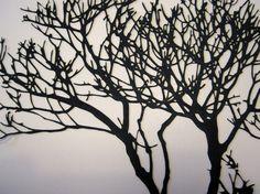 Tree Silhouette Laser cut in Paper Paper Birds, 3d Paper, Laser Cut Paper, Paper Cutting Templates, Paper Animals, Bird Silhouette, Pen Art, Paper Design, Art Google