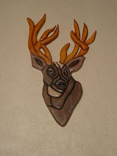 Deer, Wood Sculpture, Wall Decor. by GalleryatKingston, $70.00 USD