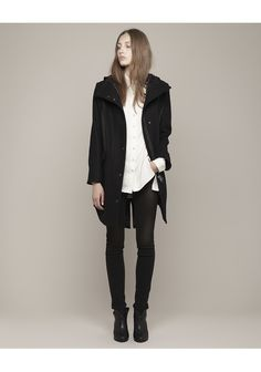 Rag & Bone's Varick coat, styled with the Rag & Bone Harrow boot as well.