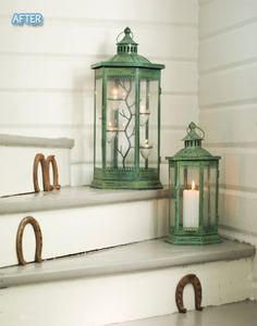 DIY   (spray paint any color onto lanterns)  like the green...brick red, etc.*****