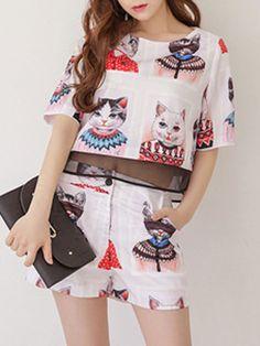 Pink Cat Print Sheer Panel T-shirt With Cat Print Shorts