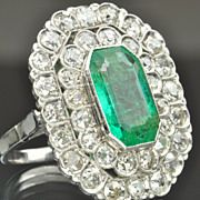 4.34 Carat Emerald and Diamond Ring