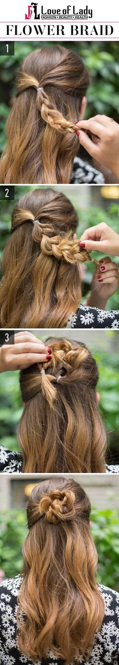 Do you really love finding out new ways to make your hair stylish? How about easy hairstyles? We have found some beautiful and simple hairstyles with complete with images and easy hairstyles step by step, which are perfect for teenagers to be able to simply do themselves. Cool, right? Check it out here. Flower Braid Pluck a segment of hair from both the sides of your head and put the segments into a small ponytail as shown in the first figure. Then, gently braid the pony all the down to…