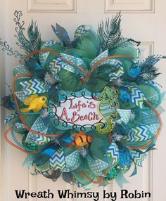 UNDER THE SEA Aqua Deco Mesh Tropical by WreathWhimsybyRobin