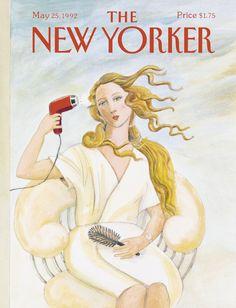 Susan Davis, May © Susan Davis and The New Yorker. Courtesy of The New Yorker. The New Yorker, New Yorker Covers, New Yorker Cartoons, Capas New Yorker, Illustration Art Nouveau, The Birth Of Venus, Magazine Art, Magazine Covers, Magazine Design