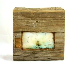 Hiding places - Open - original encaustic mixed media carved in reclaimed barn wood