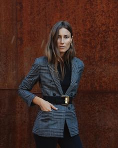 Fall Blazer Street Style In between seasons Work Fashion, Fashion Looks, Mango Fashion, Style Fashion, Mode Outfits, Fashion Outfits, Look Blazer, Plaid Blazer, Checked Blazer