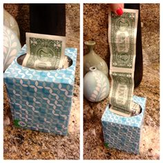 Amazing gift idea for giving cash. Tape dollar bills together and stuff in a tissue box so when they pull them out they keep coming. Kids LOVE it!