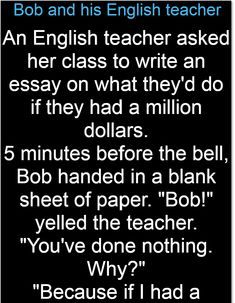 Bob and his English teacher – Jokes Jelly English Teacher Memes, Teacher Jokes, Blank Certificate, Dark Memes, Great Stories, Essay Writing, Jelly, Laughter, Bob