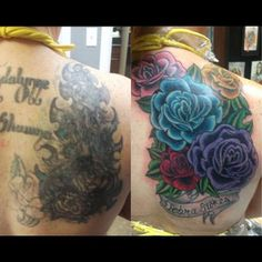 STEPH'S AMAZING COVERUP!! Flower Cover Up Tattoos, Pretty Flower Tattoos, Black Tattoo Cover Up, Flower Wrist Tattoos, Cover Tattoo, Beautiful Tattoos, Back Piece Tattoo, Back Tattoo, I Tattoo