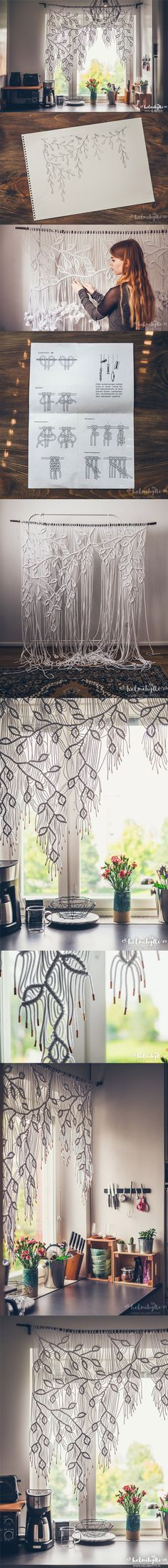 DIY macrame curtain with asymmetric pattern tutorial. Only one knot type used! Copper tape at the ends of the yarn. Original blog post & instructio…