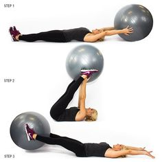 9 Moves To Shrink Your Muffin Top Stability Ball V-Pass That ball might feel light, but wait until your abs have to support it! You'll start sweating in no time! Beginner – 3 sets of 12 (bend your knees if necessary) Advanced – 3 sets of 15 Fitness Workouts, Sport Fitness, Fitness Diet, At Home Workouts, Fitness Motivation, Health Fitness, Ball Workouts, Core Workouts, Exercise Motivation
