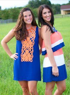 Orange & Blue Crochet Embroidered Shift Dress...Great Game Day Dress!!!