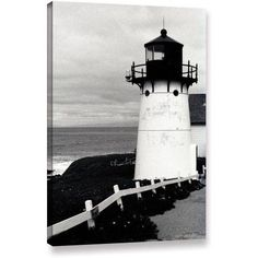 Kathy Yates Montara Lighthouse Canvas Art, Size: 12 x 18, Black